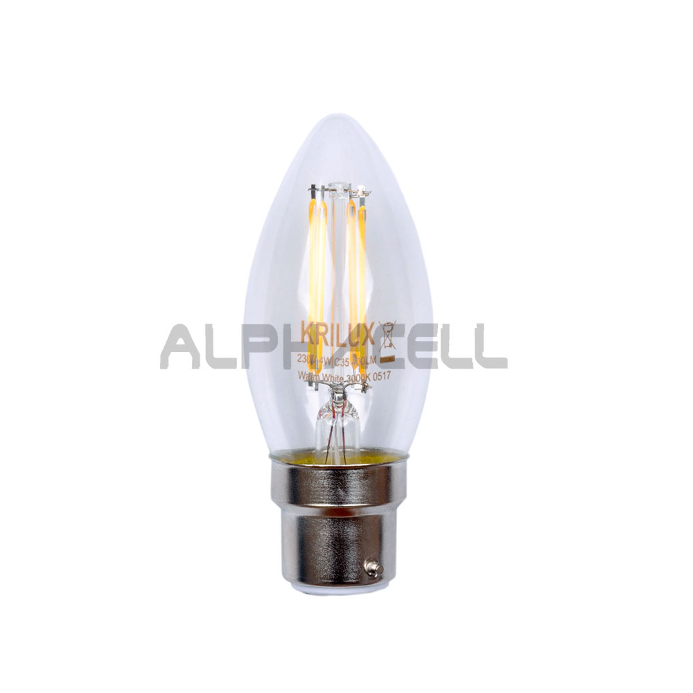 B22 Candle Led Filament 4w Warmwhit 400 lum KRILUX