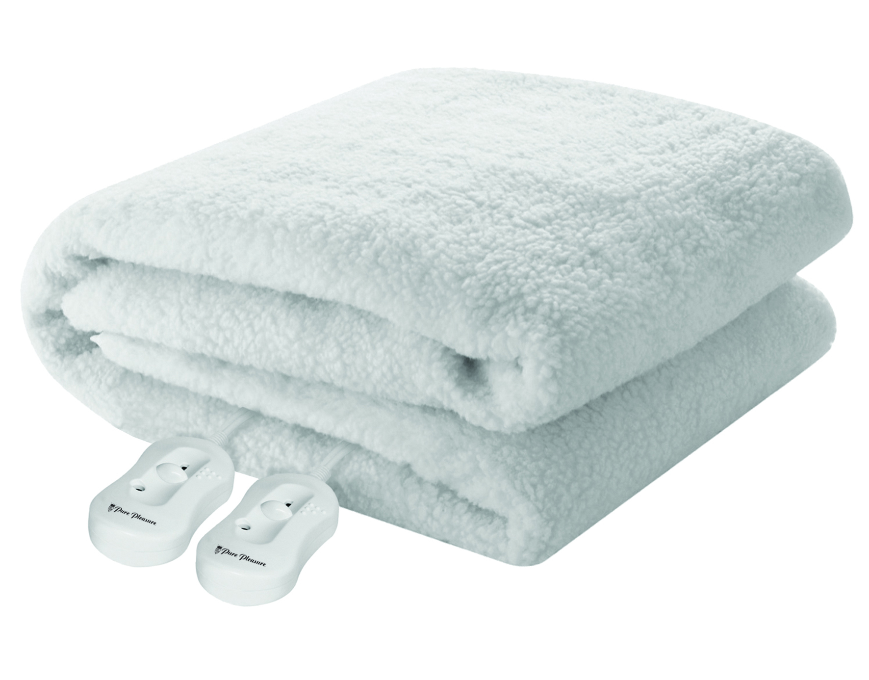 Pure Pleasure - Double Sherpa Fitted Electric Blanket W/ Elastic  Straps 137X188