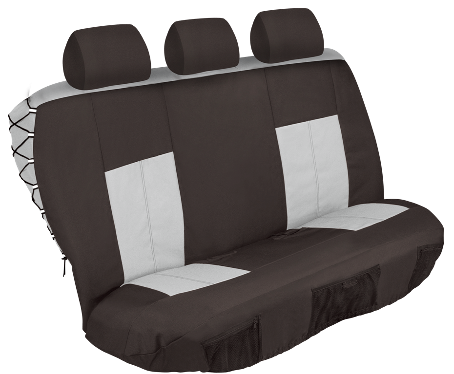 5 Piece Safari Rear Seat Cover Set - Black and Grey