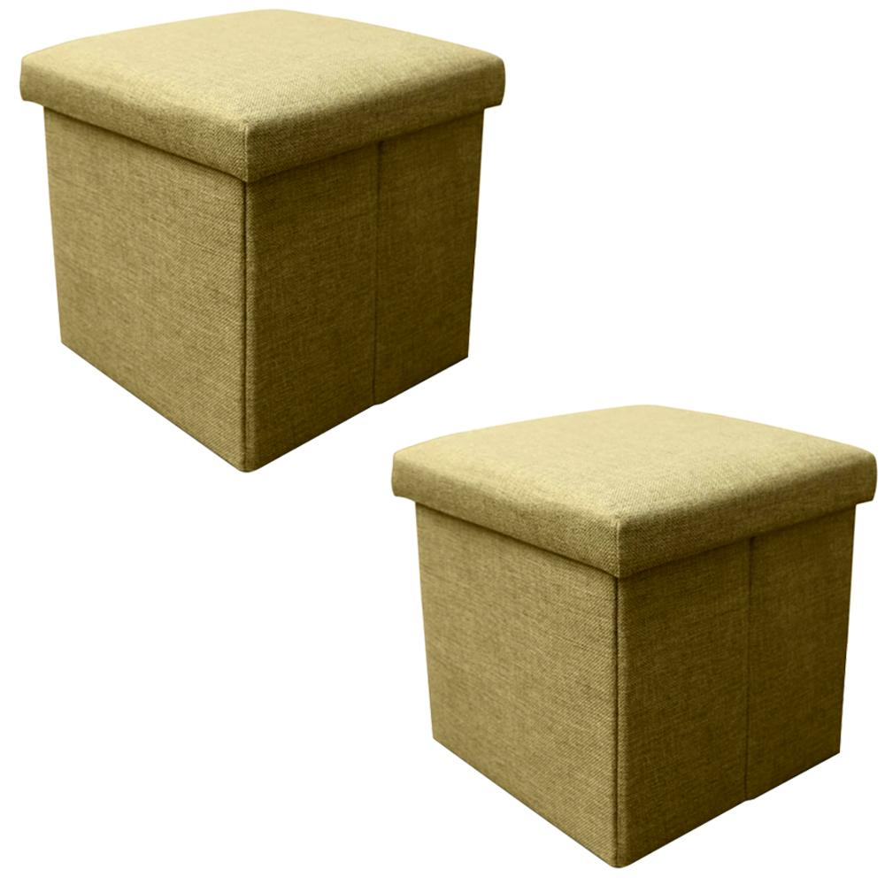 2 Pack Collapsible Storage Box Cube Stool