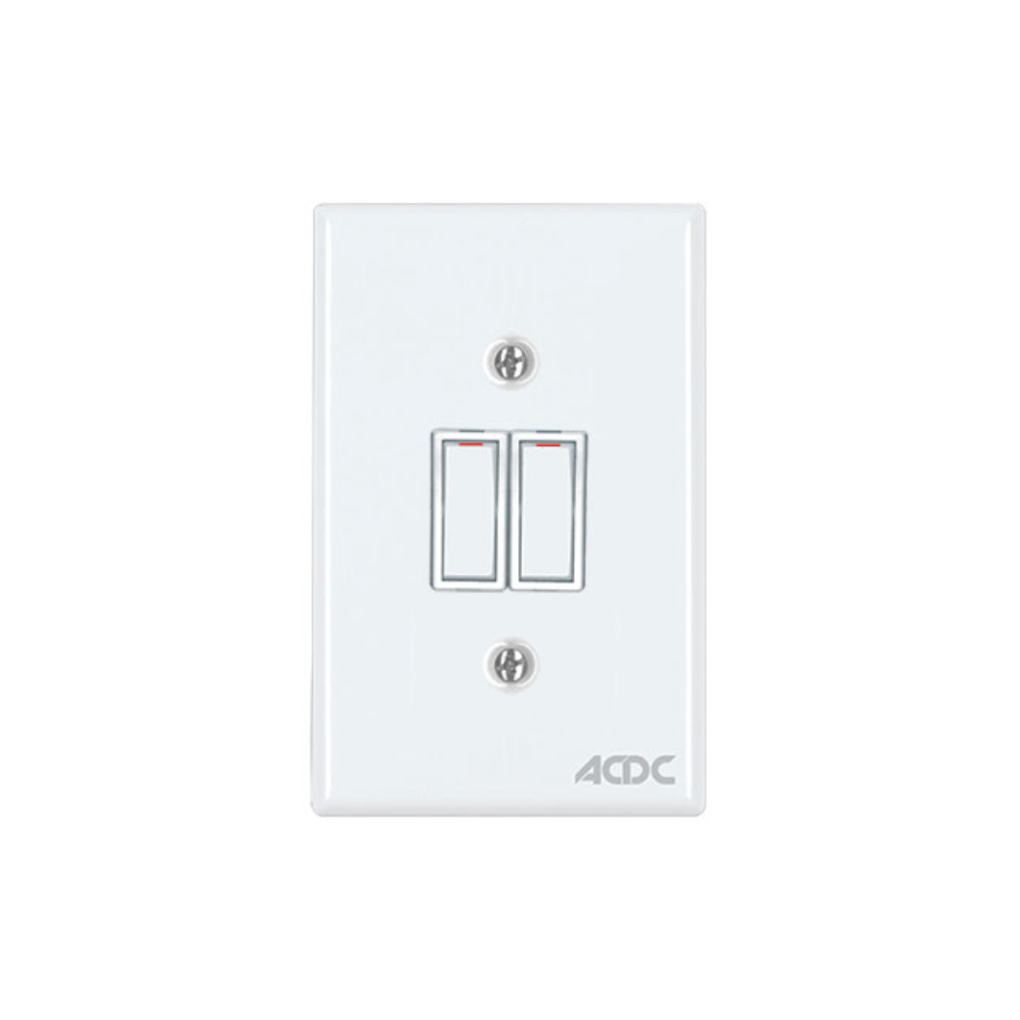 Classic Switches - 2 x 4 2 Lever 1 Way - White