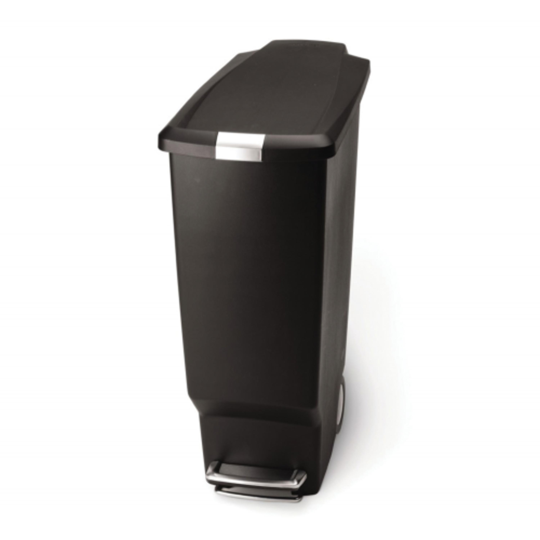 Simple Human - 40L Slim Plastic Pedal Bin W/ Steel Pedal - Black