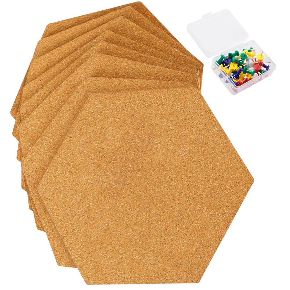 8Pcs Self Adhesive Cork Tiles Message Boards Set