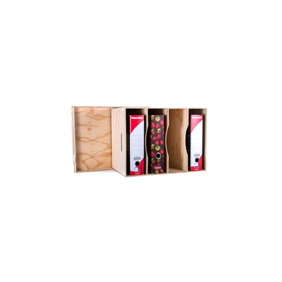 Arch Lever File Storage Box with lid - Wood