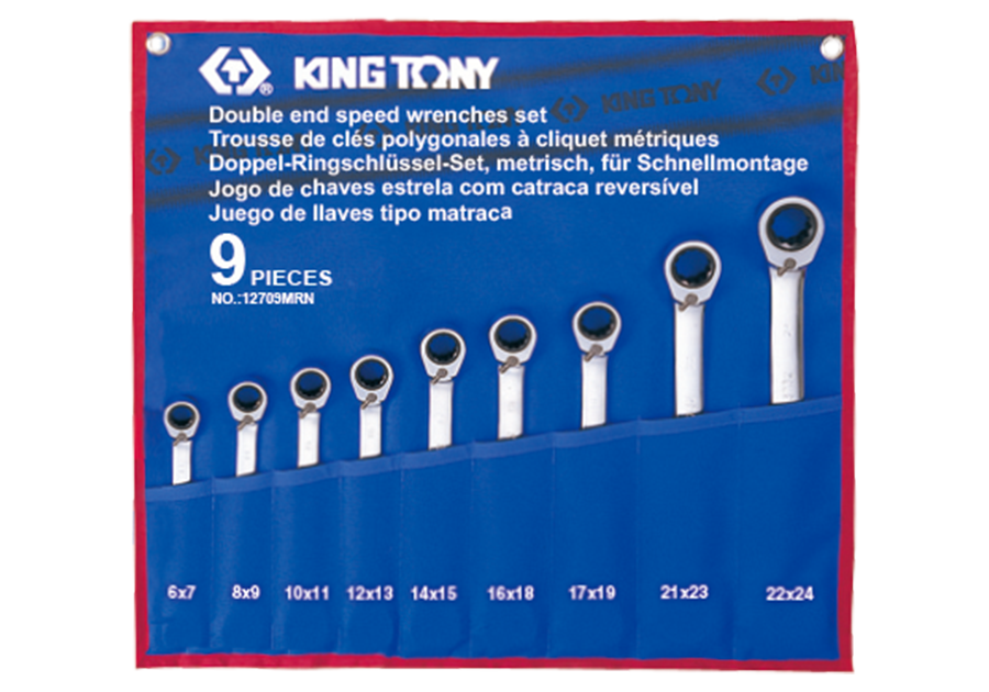 KING TONY – SPANNER SET 9PC RATCHET TYPE 9PC DOUBLE RING 6-24MM