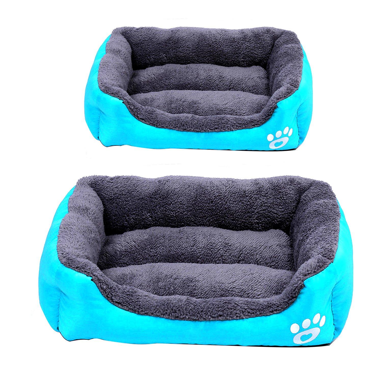 2Pcs Pet Plush Cushion Bed Set