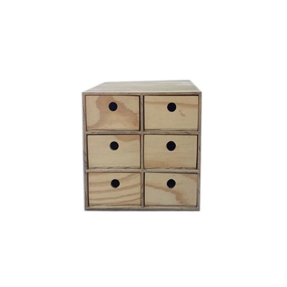 6 Drawer Utility wood storage Box - No Handle -