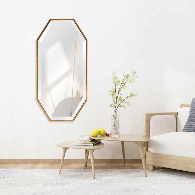 Lifespace Gold Rectangular Mirror With Cut-off Corners