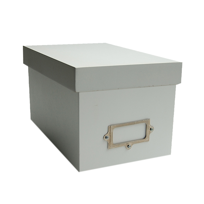 CD Storage Box With Lid & Label - Painted- Wood