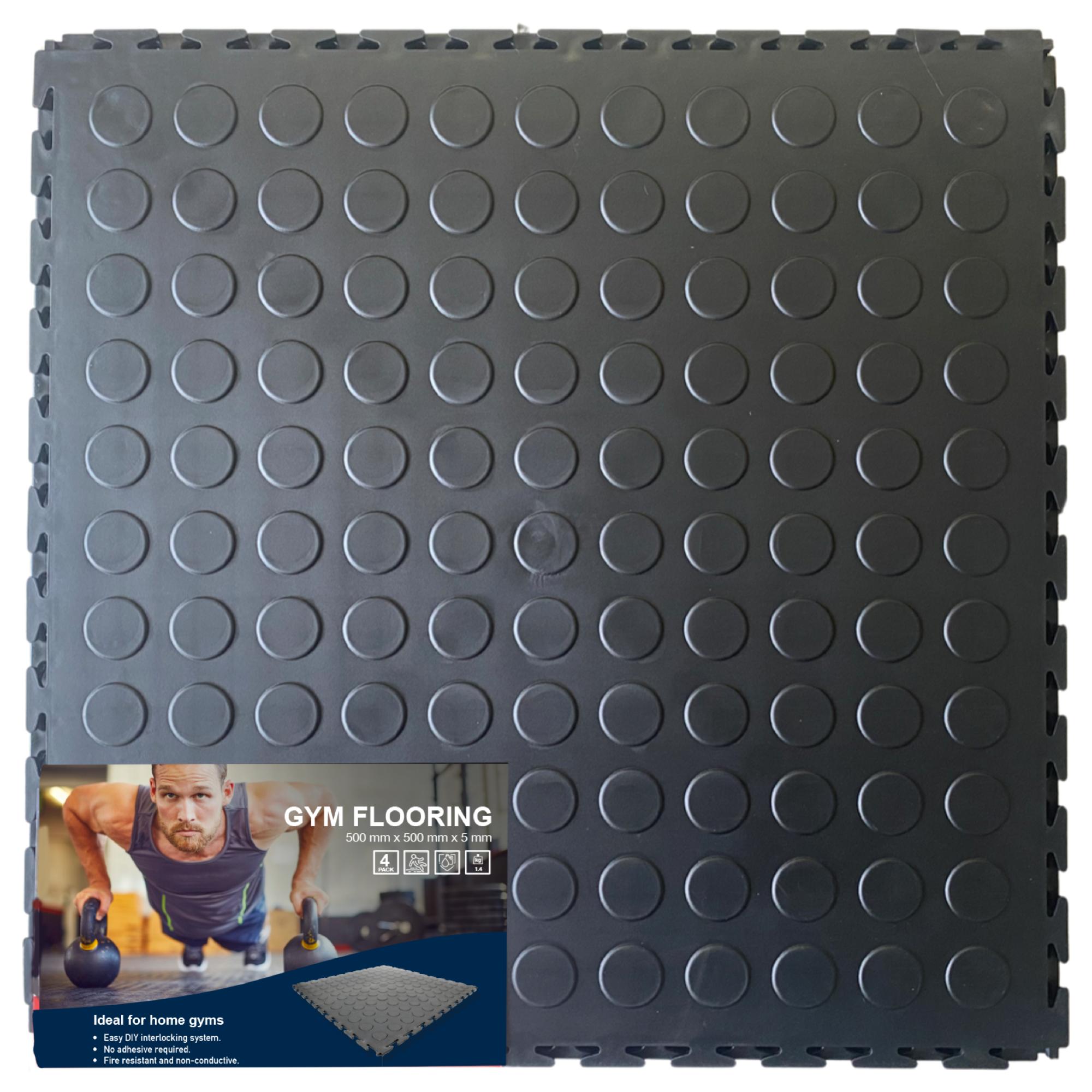 DECO-Stud Lock Gym Interlocking PVC Tiles 500x500x5mm (4 Pack = 1 sq.m)