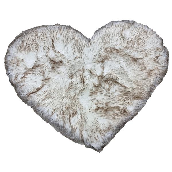 Faux Fur Heart Rug (70cm x 90cm) - White with Dark Brown