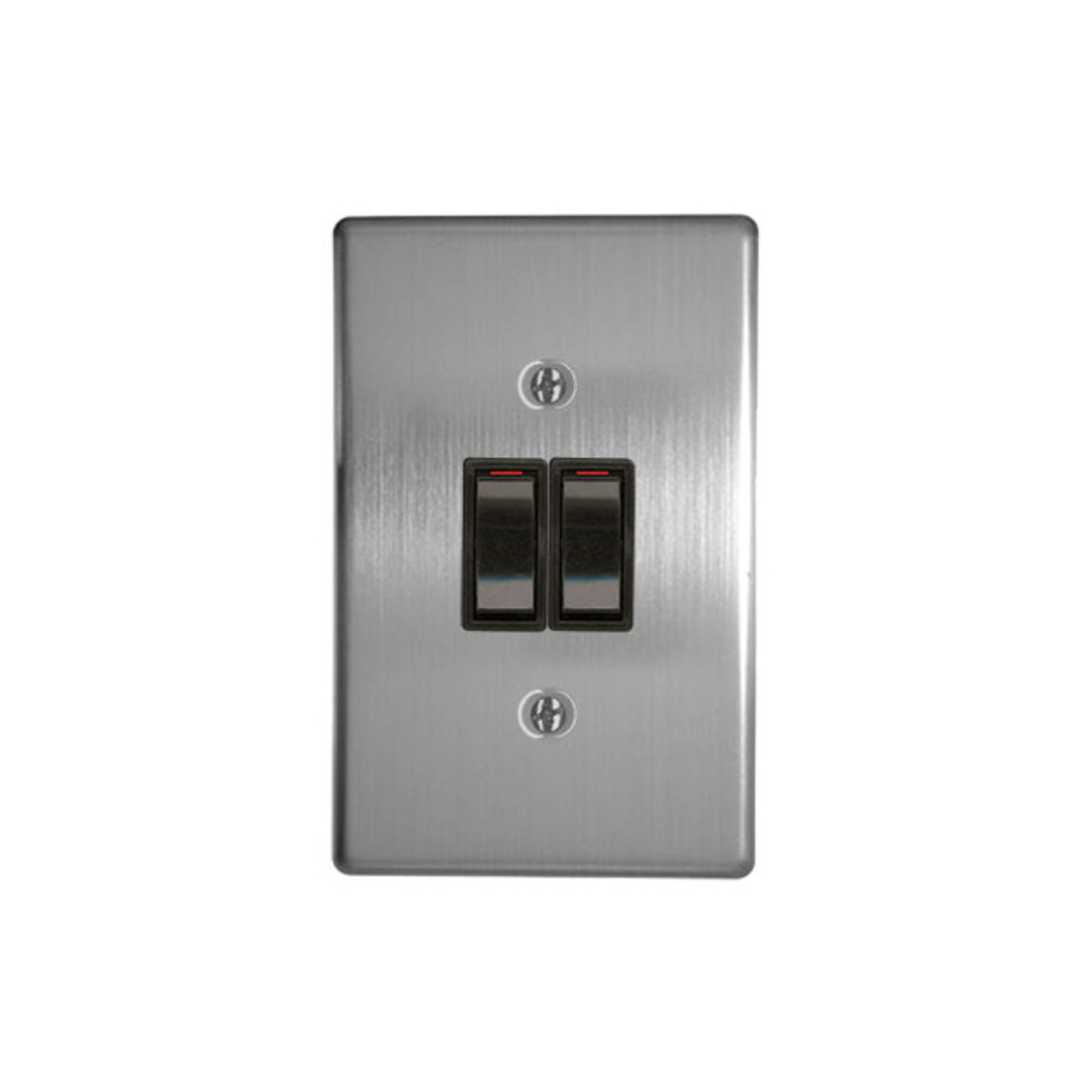 Classic Switches - 2 x 4 2 Lever 1 Way - Silver