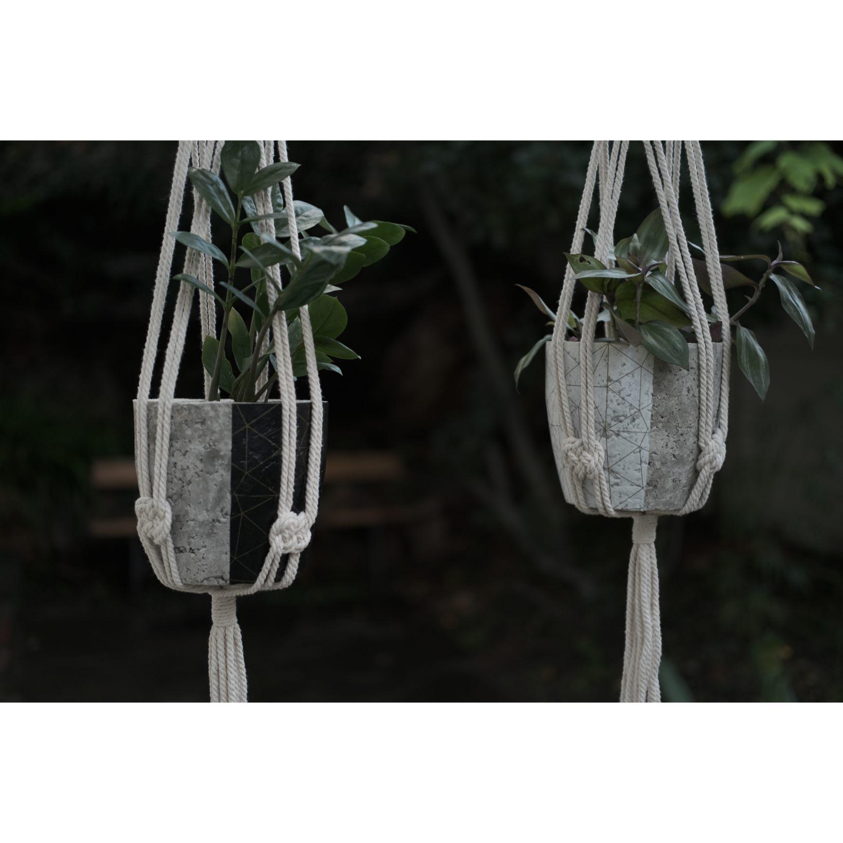 Macramé plant hanger set - geometric design