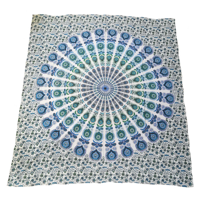 Green and Blue Peacock Tapestry