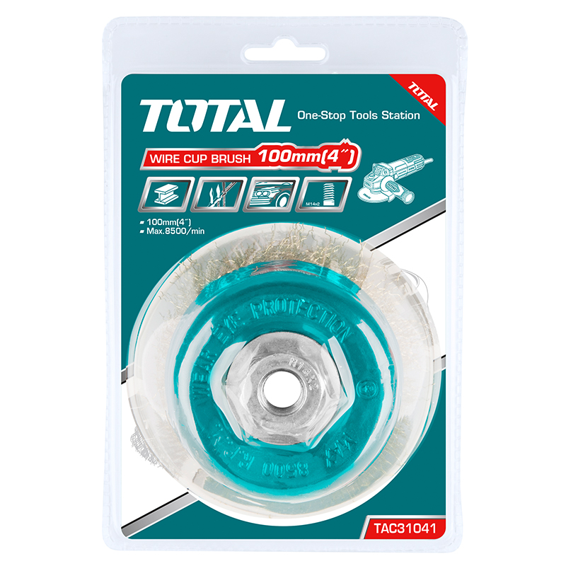 Total Tools Cup Brush With Nut 100mm Wire