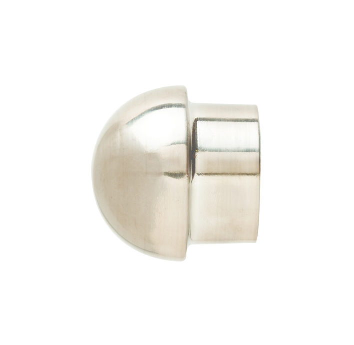 25 mm Steel Collar End Dome Brushed Silver