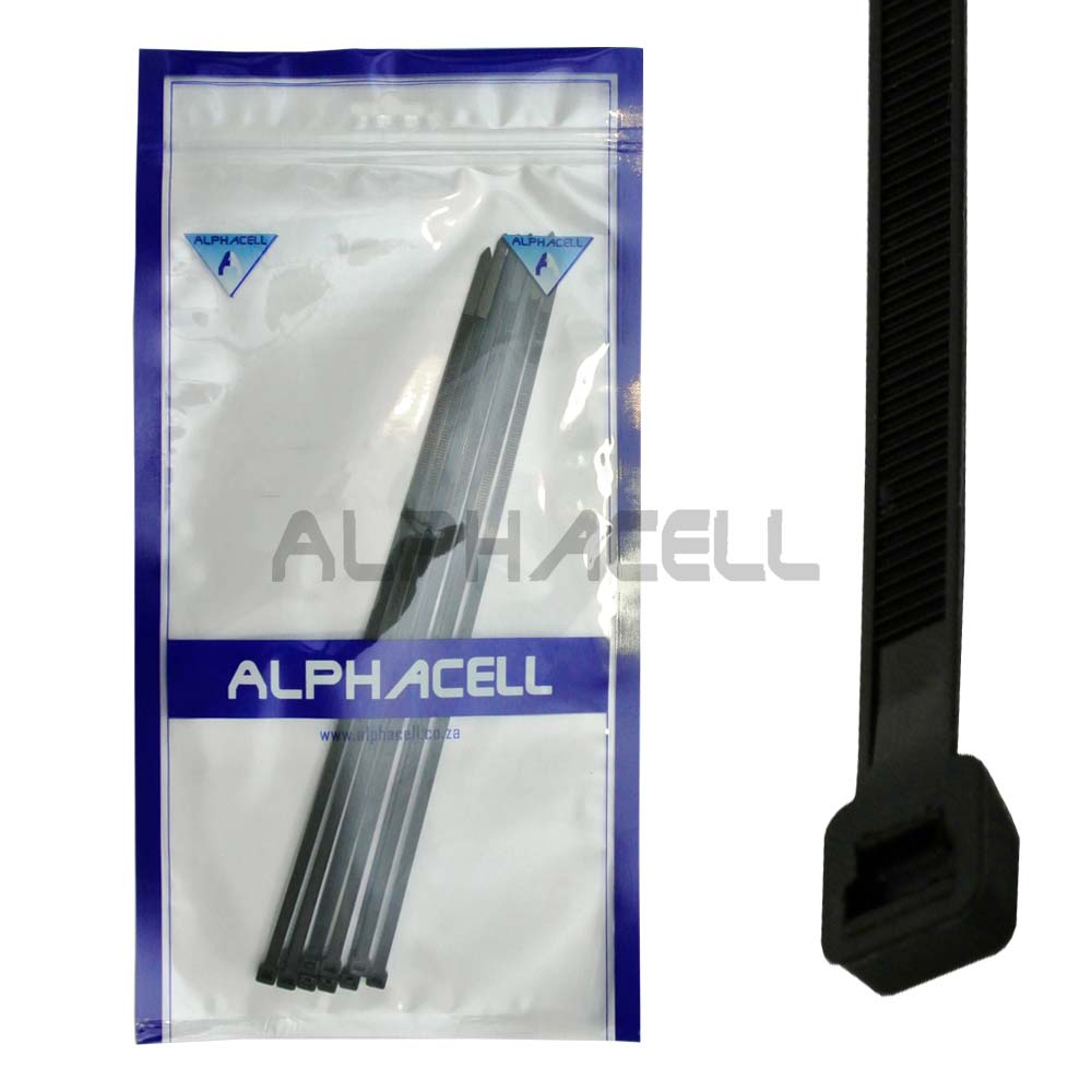 CABLE TIE - 300mmx4.8mm BLACK - 10 pack
