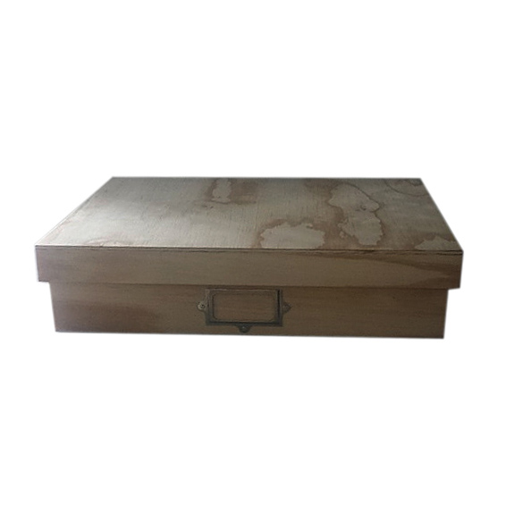 A3 Storage Box with Label - Wood