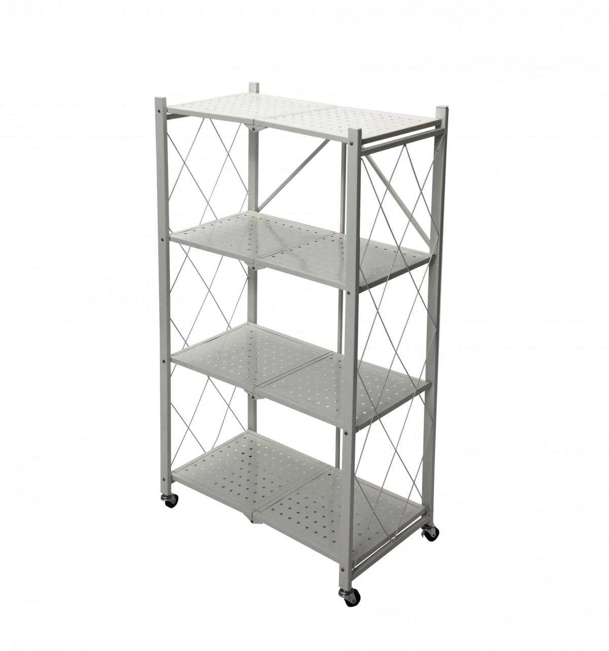 Fine Living Foldable Storage Rack-White Metal 4 La