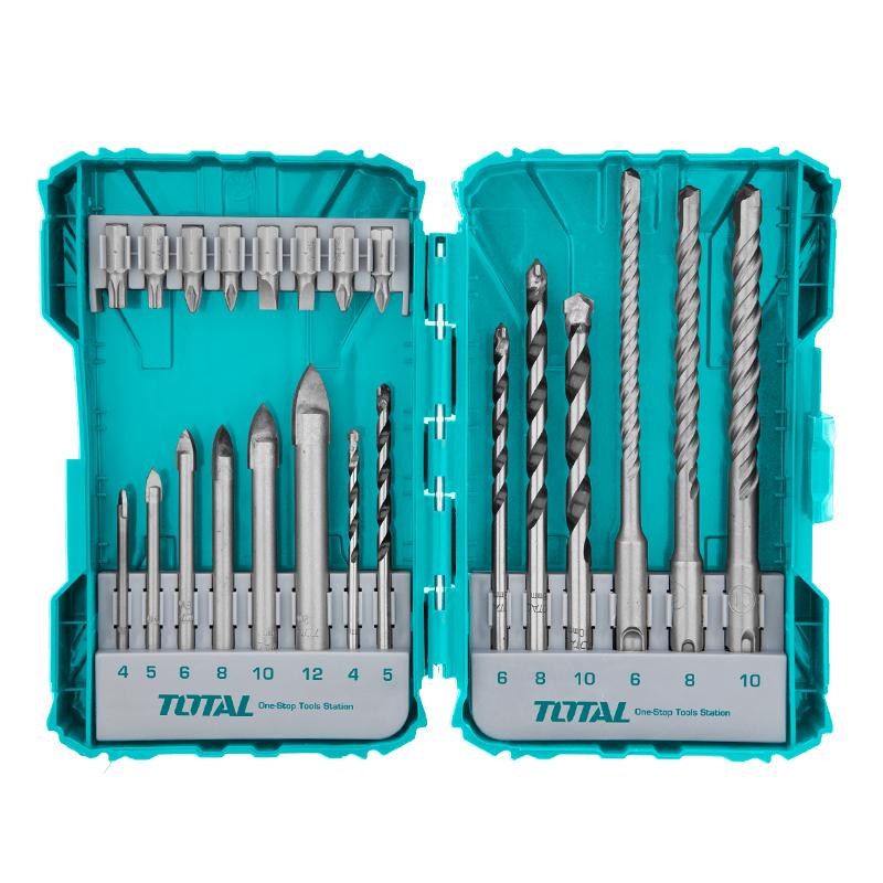 Total Tools Drill Bits And Screwdriver Bits Set 22Pcs