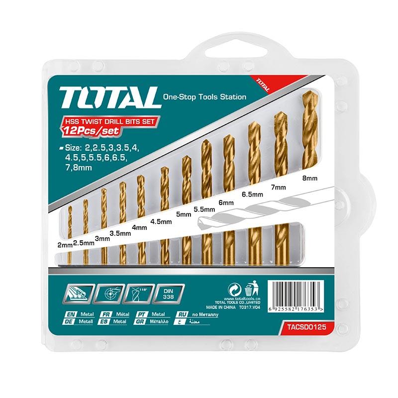 Total Tools HSS Twist Drill Bits Set 12Pcs