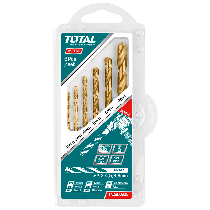 Total Tools HSS twist drill bits set 6pcs 2 sets
