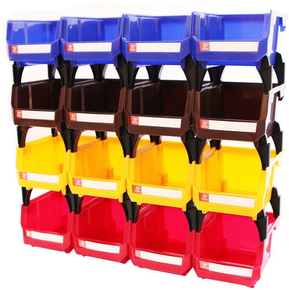 16 Plastic Garage Storage Bin Set for Tools and Parts