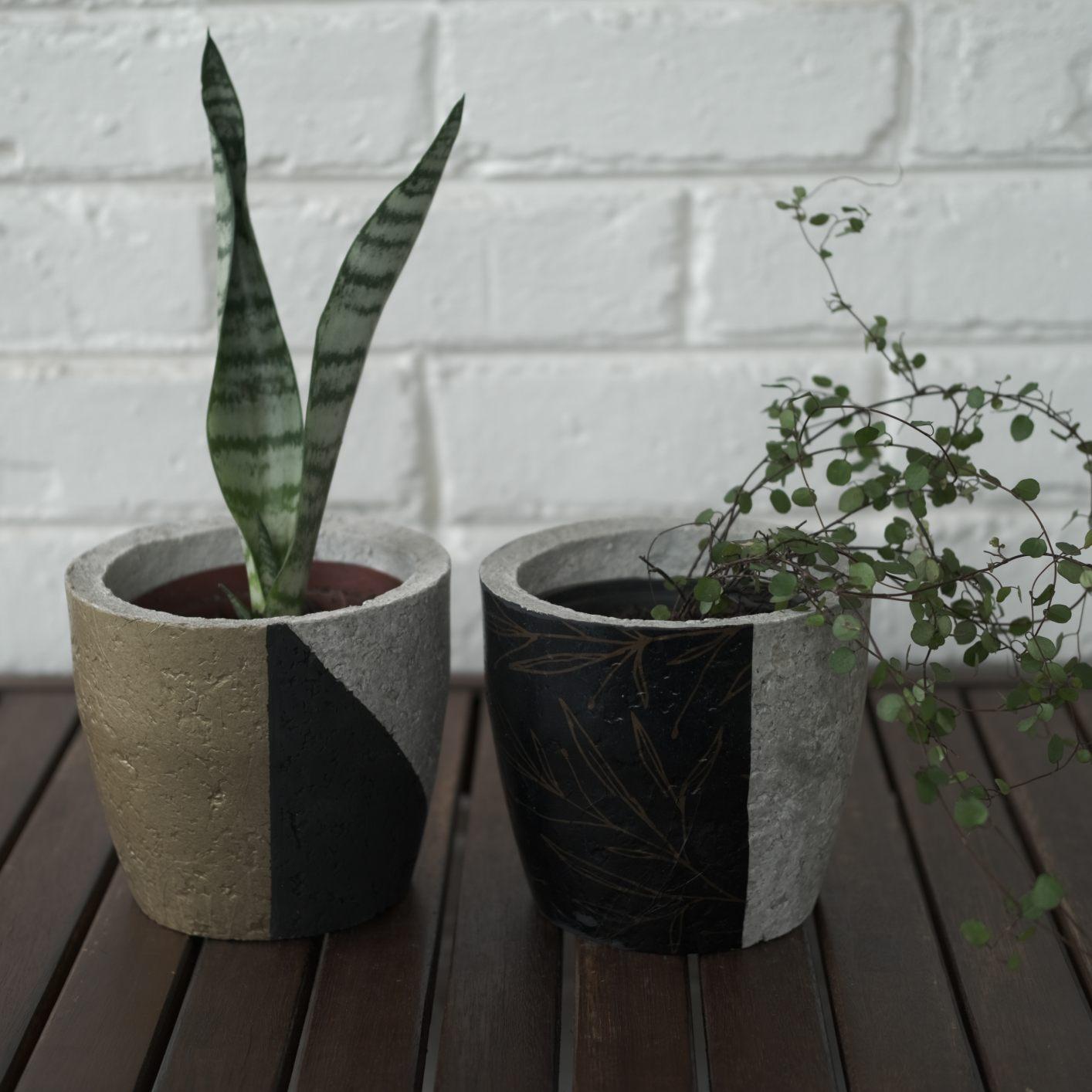 Plant pot set black and gold