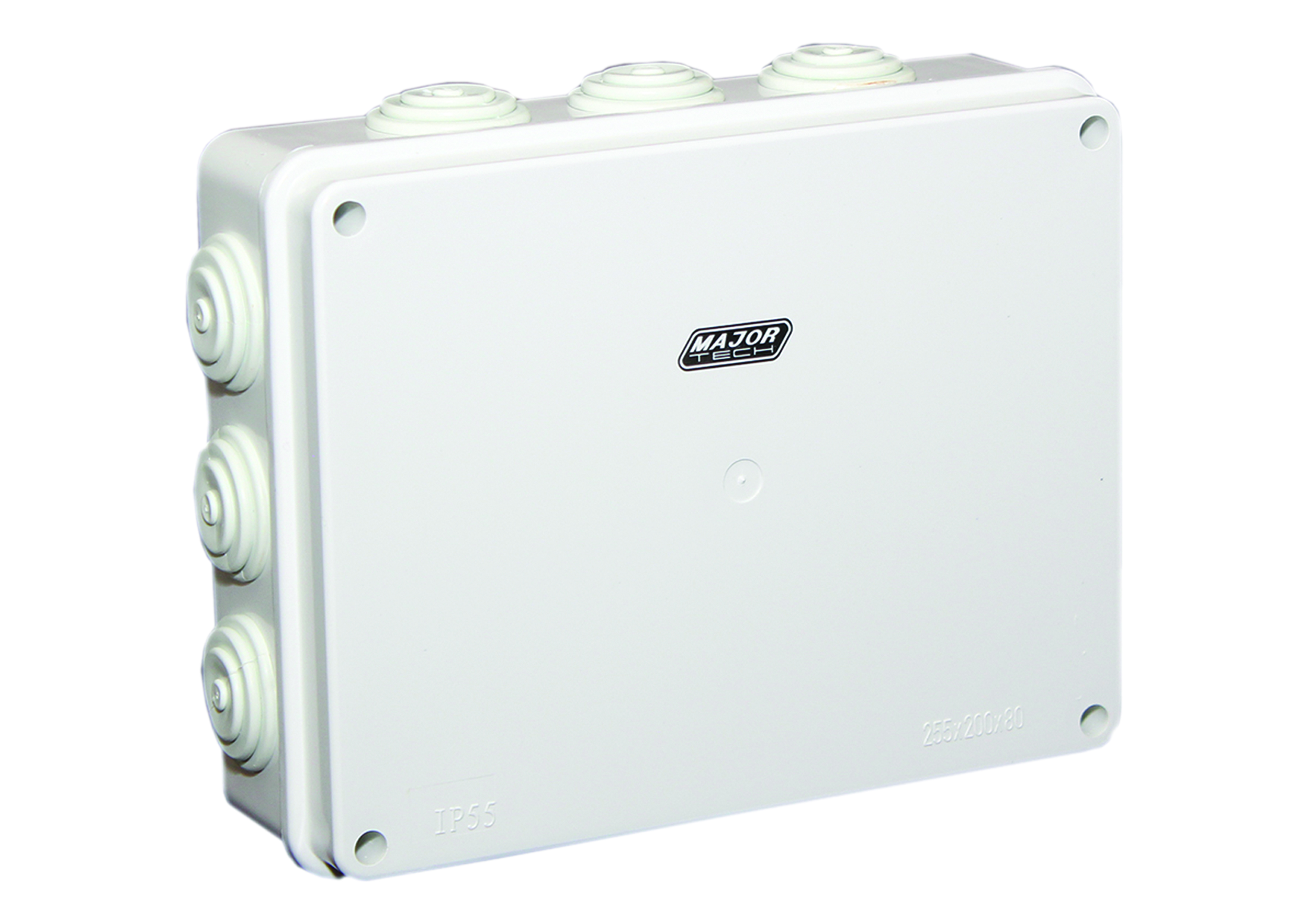 255mm x 200mm x 80mm IP55 Junction Box with Rubber Glands (VJ25208R) - VETi