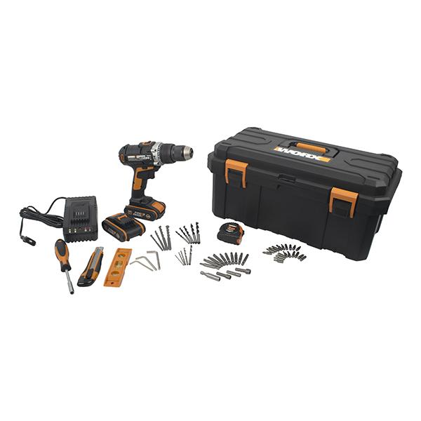 Hammer Drill 20V 50Nm 2 X 2.0Ah Std Charg. 55Pc Acc. Toolbox Worx
