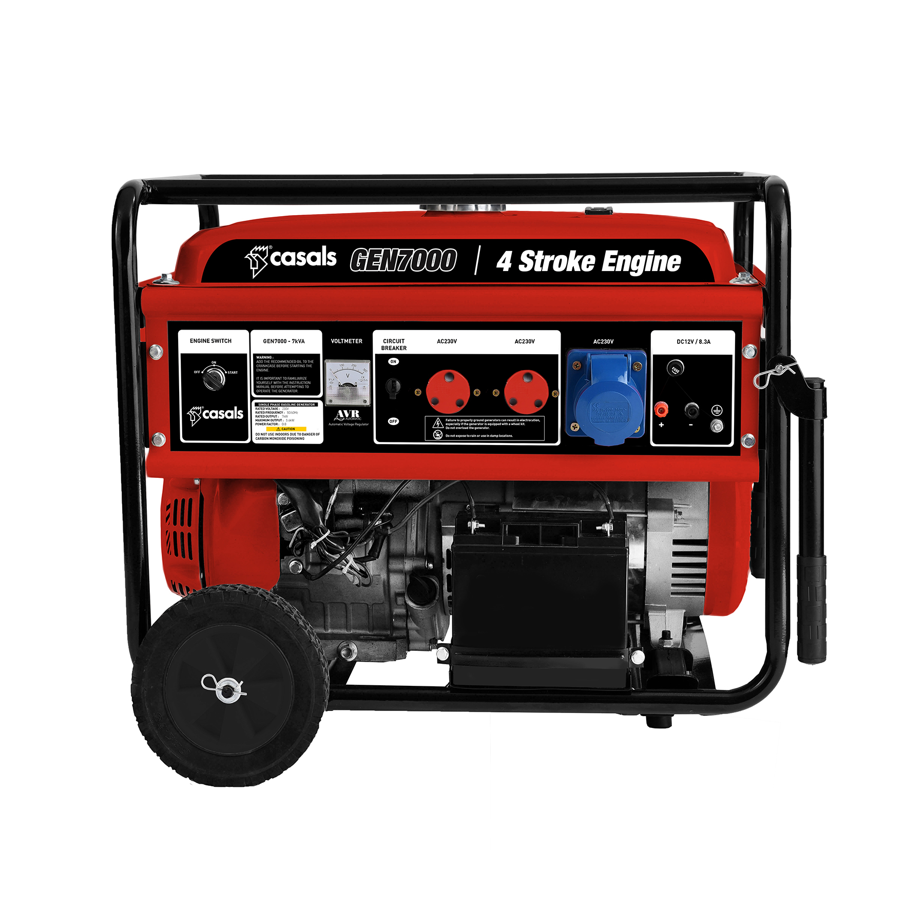 Casals Generator Electric / Recoil Start Steel Red Single Phase4 Stroke 5