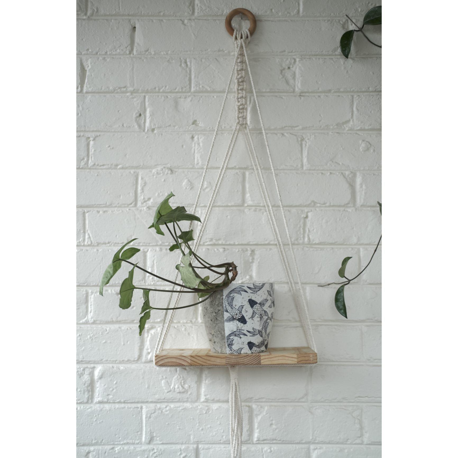 Modern macramé shelf with koi fish plant pot