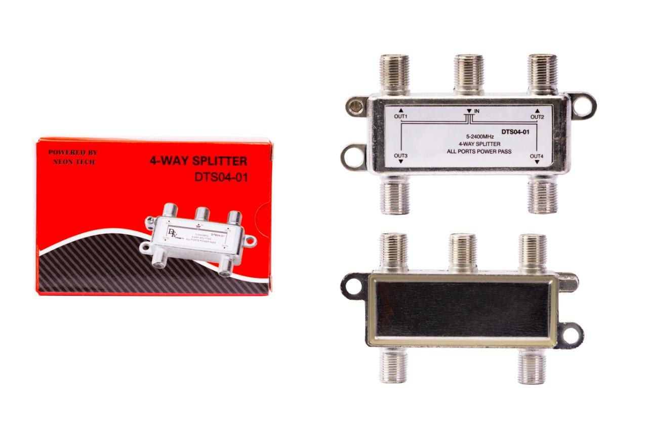 DTV 4 Way Splitter All Legs Power Pass (DTS-04-01)