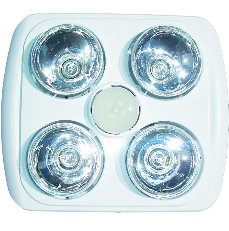 Bathroom Heating Lamp & Light - 4 Lamp - Plastic Finish