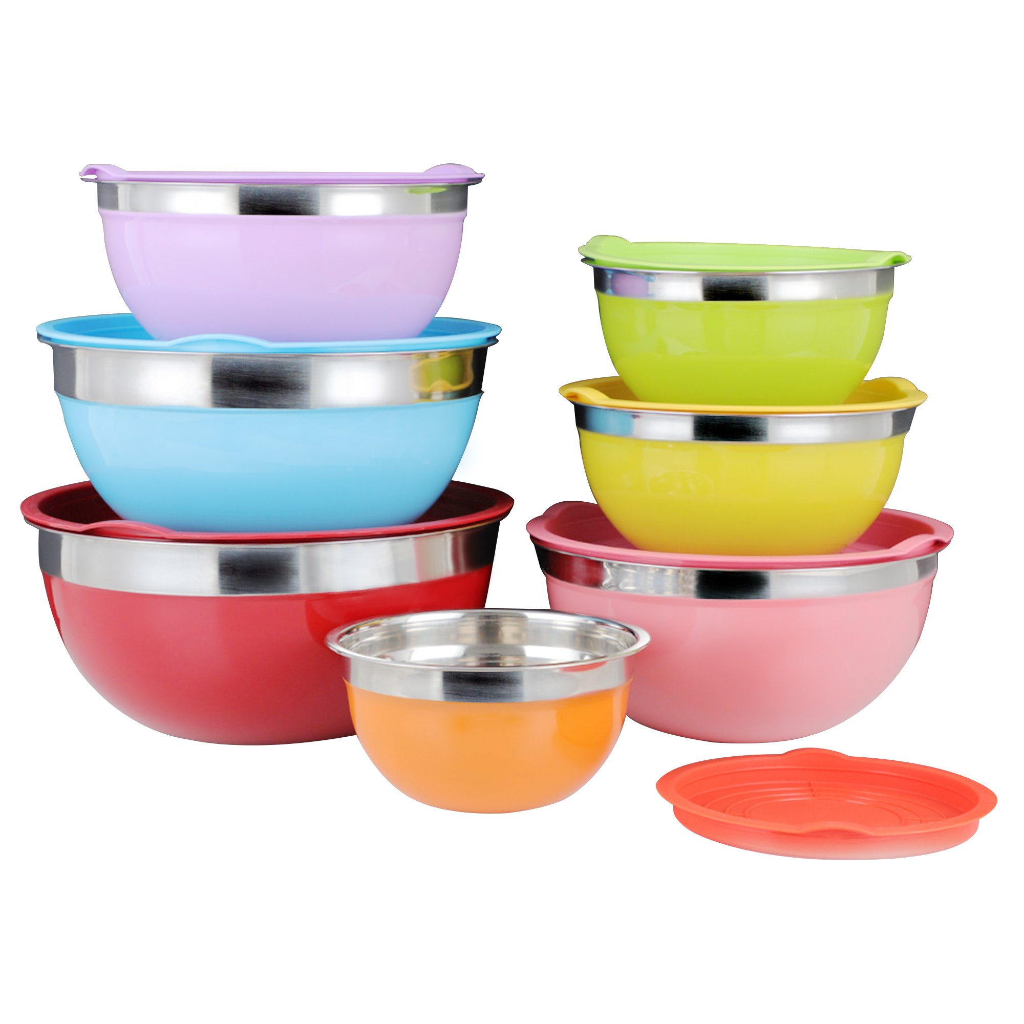 Colorful Stainless Steel Mixing Bowl - 7Pcs Set