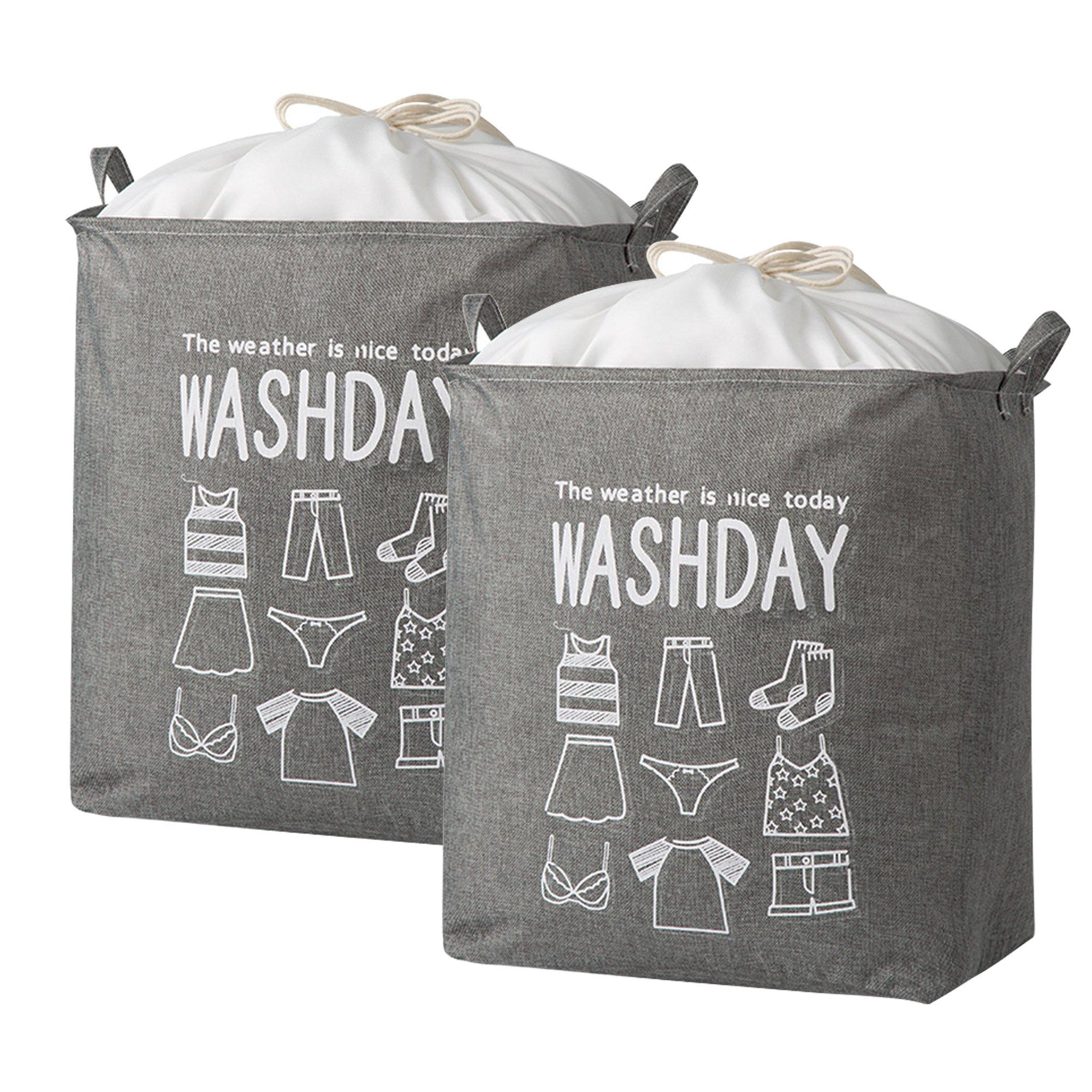 2Pcs Large Collapsible Storage Bag Laundry Hamper