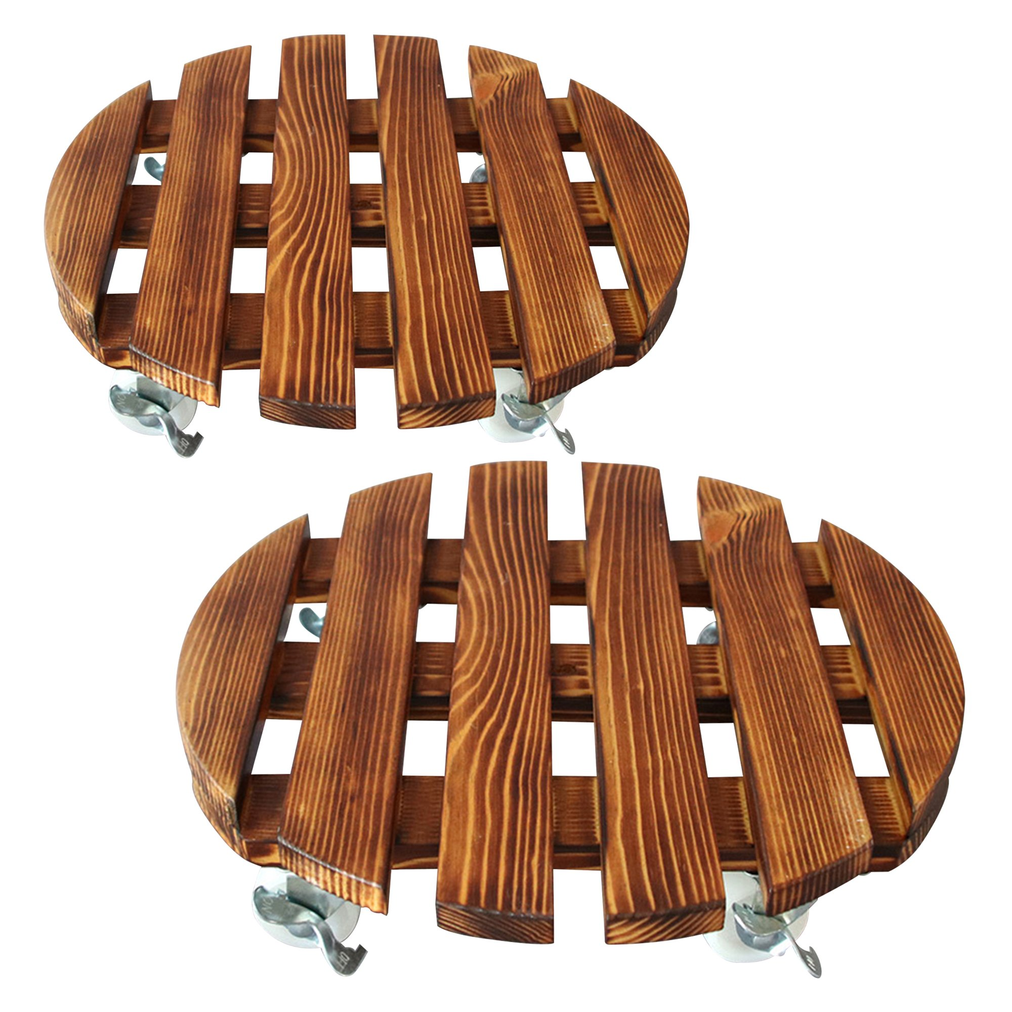 2Pcs Wooden Plant Caddy Trolley Roller