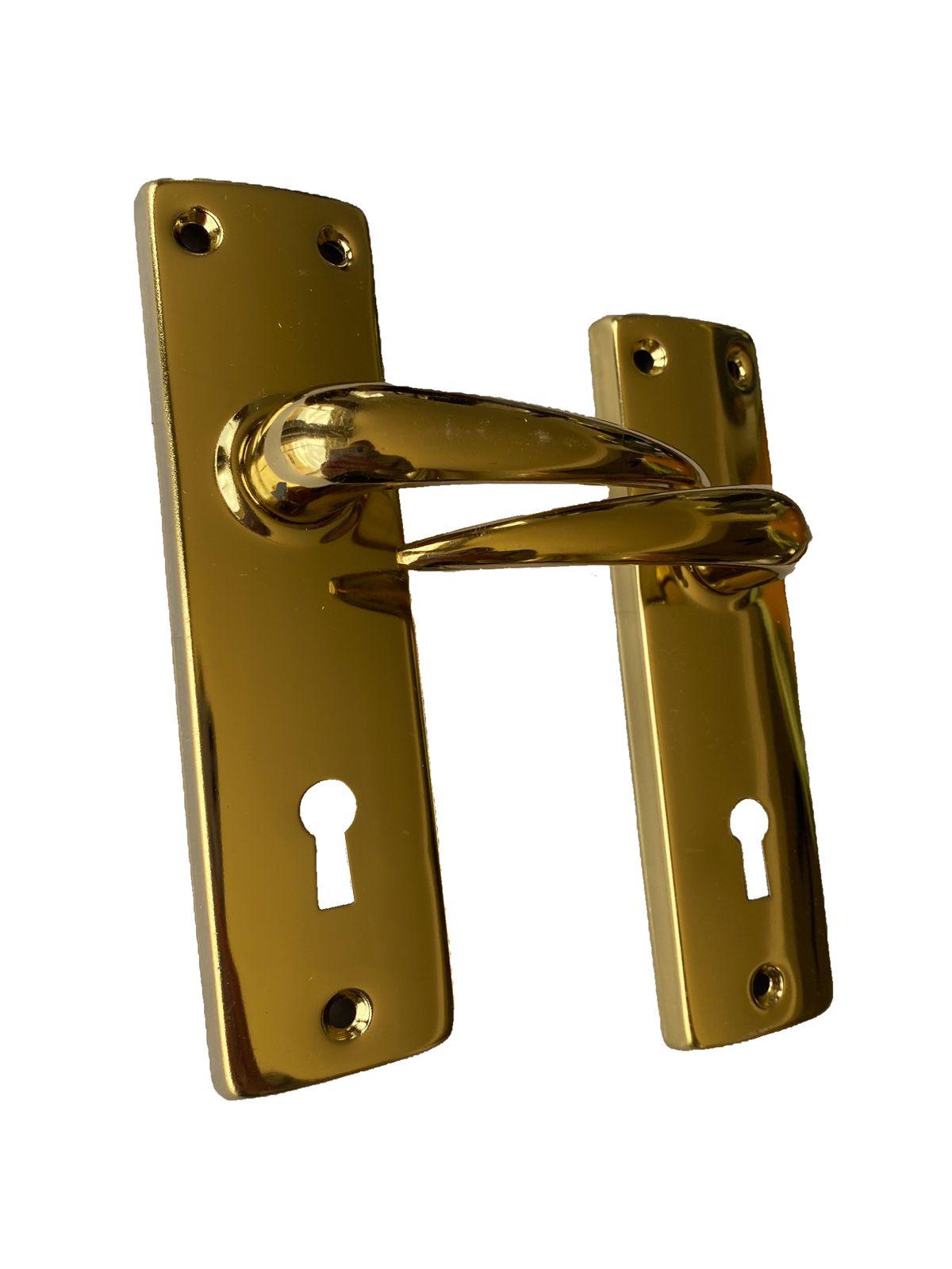 BRASS PLATED DOOR HANDLE SET WITH LOCK & KEYS