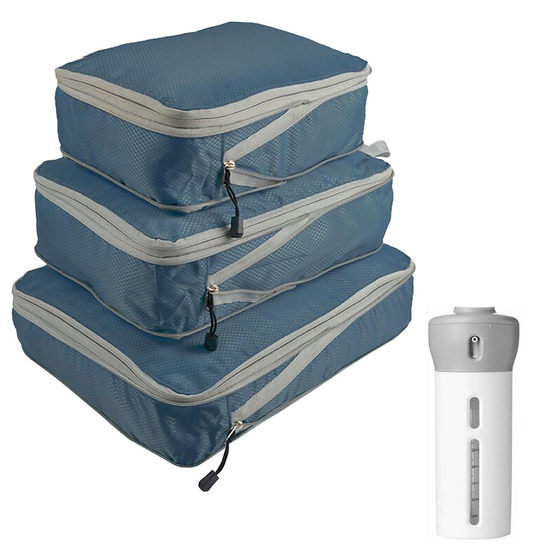 3 Pcs Luggage Packing Cubes & 4-in-1 Travel Bottle Set