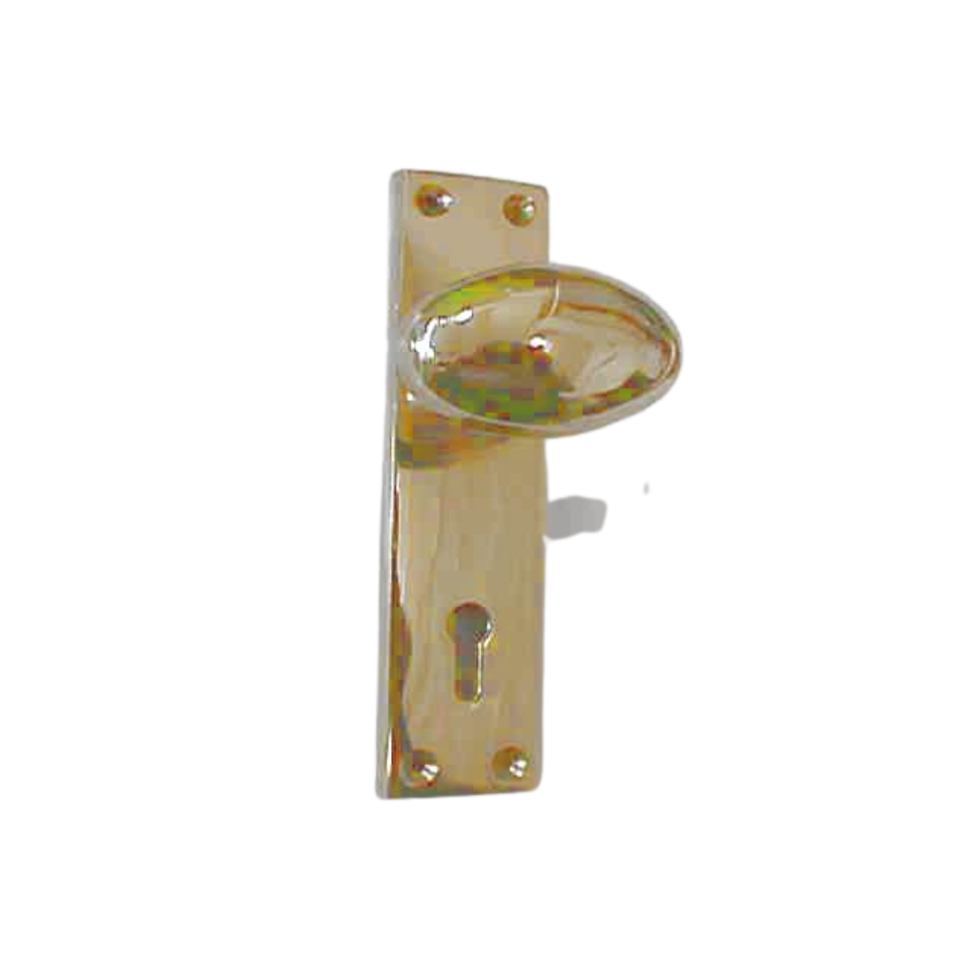 Solid Brass Oval Knob on Plate