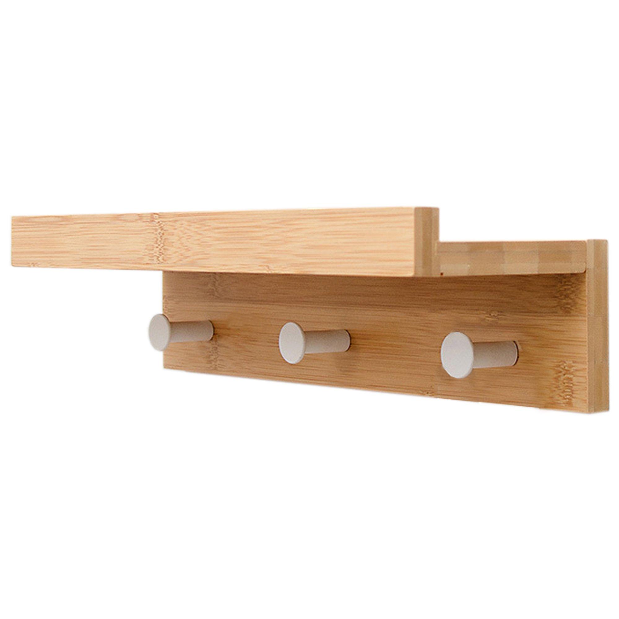 Bamboo Floating Shelf with Hooks