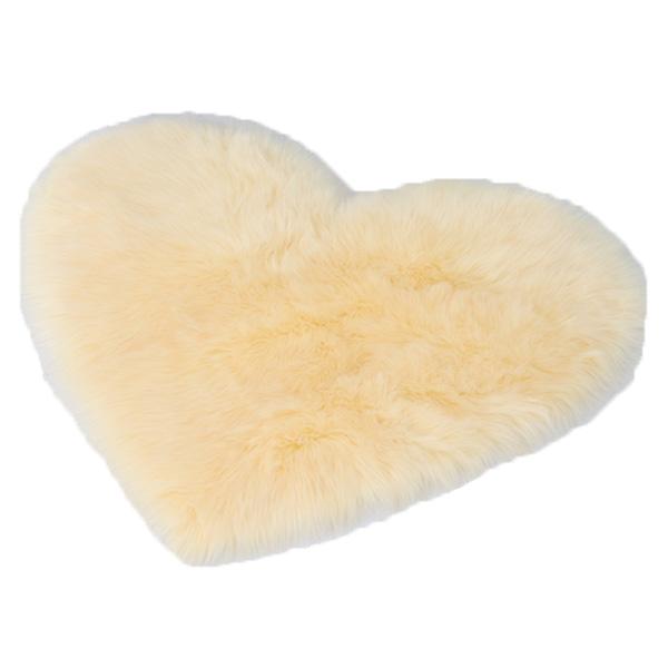 Faux Fur Heart Rug (70cm x 90cm) - Cream