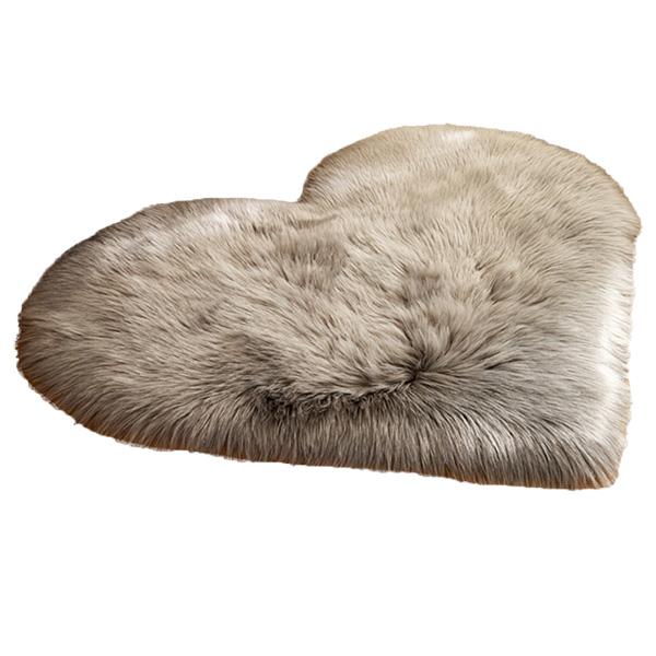 Faux Fur Heart Rug (70cm x 90cm) - Grey