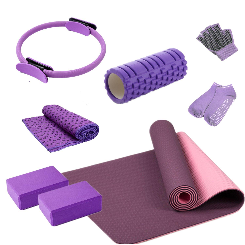 8 Pcs Home Fitness Set TPE Yoga Mat Bricks Circle Towel