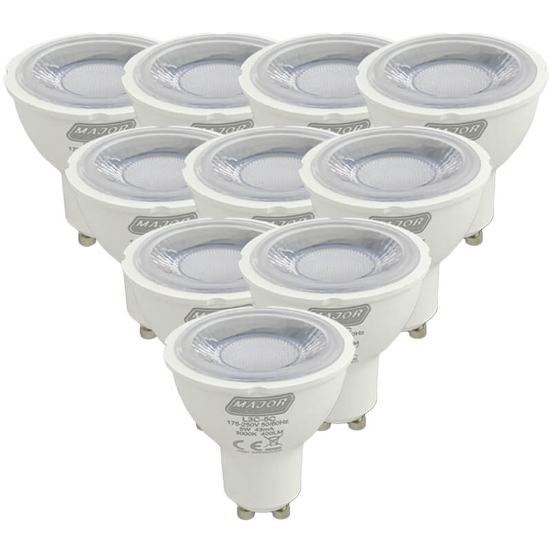 5W GU10 Pack of 10 Cool White Non Dimmable Lamps (L3C-5C) - Major Tech