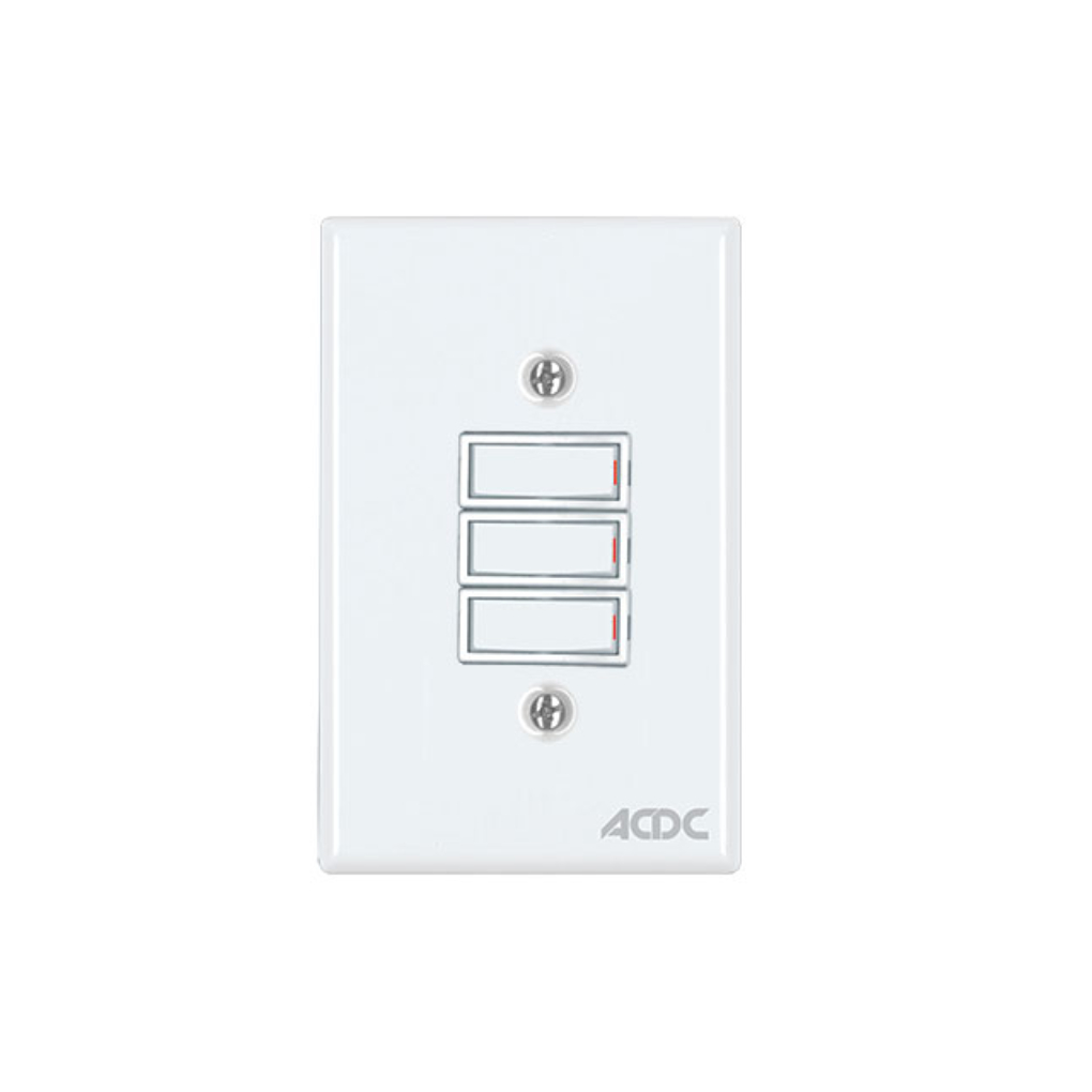 Classic Switches - 2 x 4 3 Lever 1 Way - White
