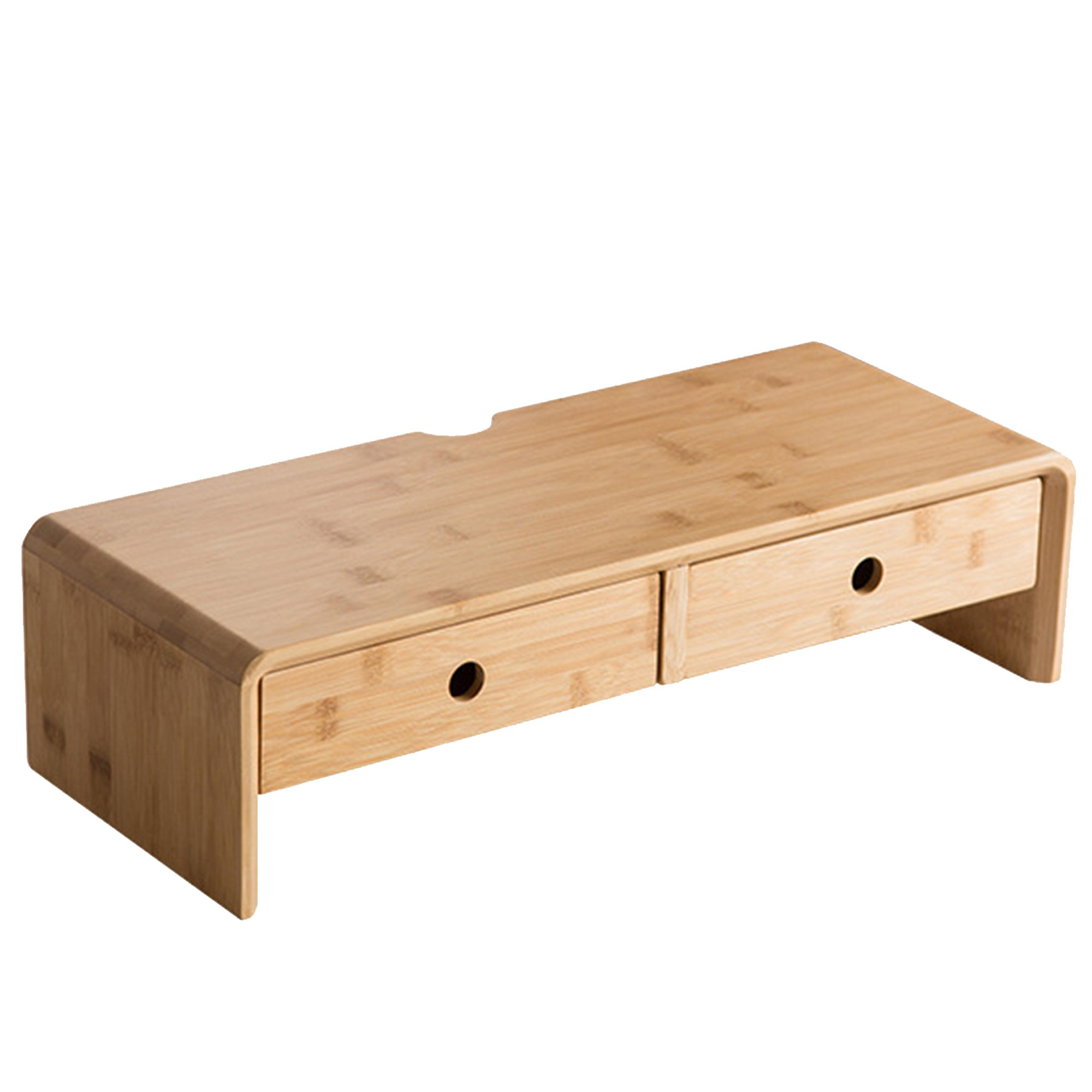 Bamboo Monitor Riser Stand with Drawers