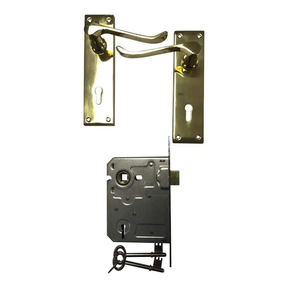 Victorian Lever Door Handle on Backplate with 2 Lever Lock