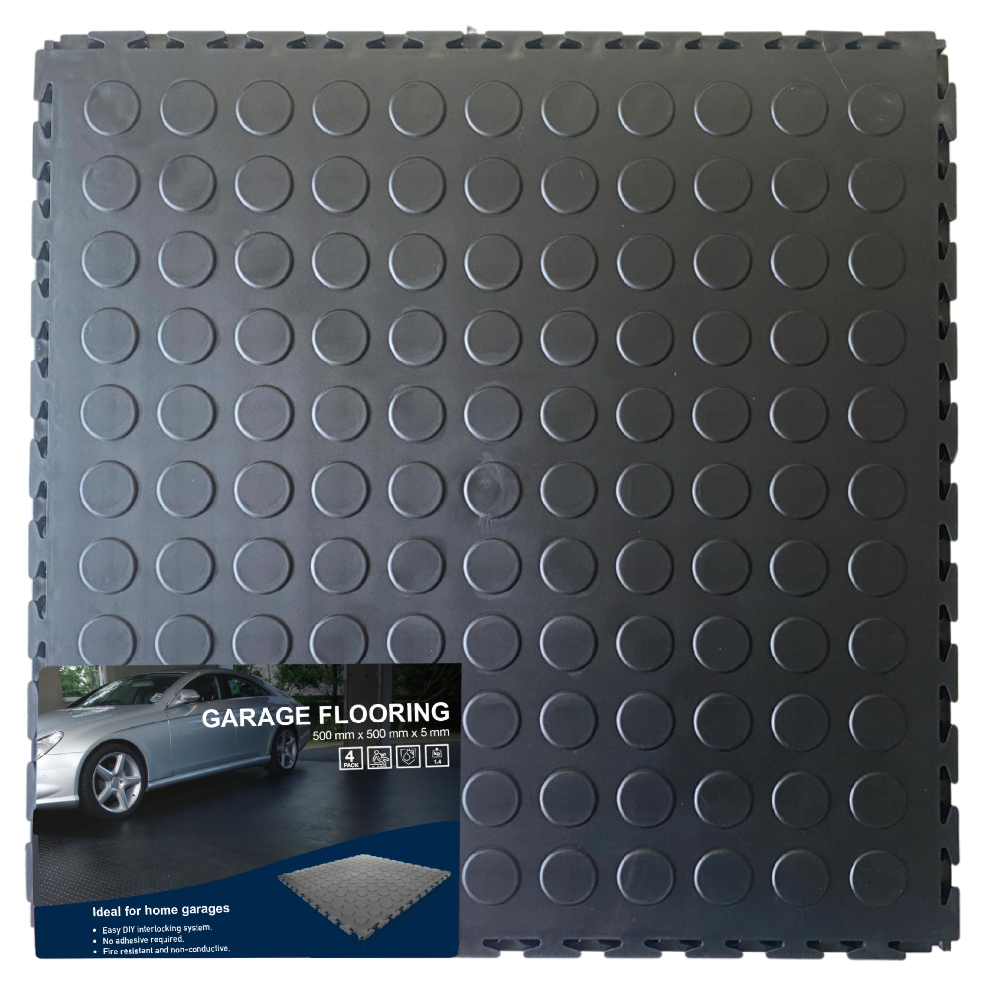 DECO-Stud Lock Garage Interlocking PVC Tiles 500x500x5mm (4 Pack = 1 sq.m)