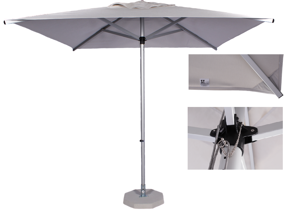 2.5m Square Alum Umbrella- Ecru